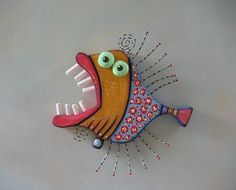 Loud Mouth Bass, Original Found Object Wall Art, Wood Carving, by Fig Jam Studio