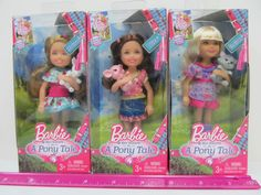 "THREE DOLLS from - Barbie & Her Sisters in ""A Pony Tale""- Madison Chelsea & Kira #Mattel"