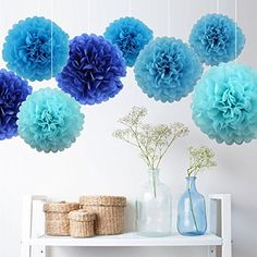 7er Pompons Set Türkis Dunkelblau Hellblau Blau deko für Hochzeit kindergeburtstag Party baby shower, http://www.amazon.de/dp/B01AWFLKEC/ref=cm_sw_r_pi_awdl_-RGfxb08DVSEM
