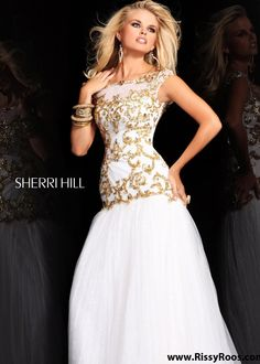 New 2013 Sherri Hill 2981 ivory gold sequin prom dresses available now at RissyRoos.com.