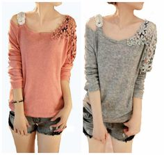COWGIRL GYPSY SWEATER Cut Out Shoulder Lace Long Sleeve Oversized Knit Sweater