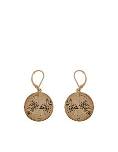 Gypsy Beaten Coin Drop Earrings | Gold | Accessorize