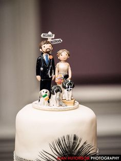 Love this wedding cake topper photo from a happy customer, lots of little additions made it really personal to them x www.wedding-cake-toppers.co.uk