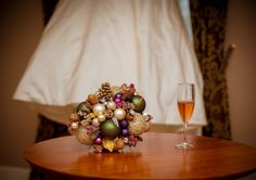 Homemade Christmas bauble bouquet. Under The Mistletoe in Galway - Fiona and Brian