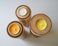 drewniany minimalizm w formie stylowych świeczników