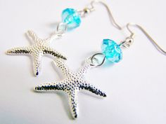 Silver Plated Starfish Earrings - FREE SHIPPING w.a.i. - matching necklace…