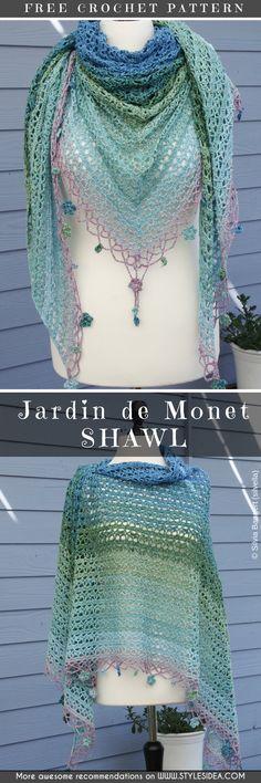 Jardin de Monet Shawl Free Crochet Pattern #crochetshawl #freecrochetpatternsforshawl #crochetpattern #shawl