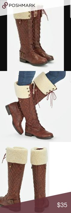 Fall/Winter Boots Cute and toasty calve boots. Beautiful burgundy brown color screams kicking piles of leaves lol. The inner liner is made of neoprene which is great for keeping out the cold. Not made for really large calves. My lost. Your gain. JustFab Shoes Winter & Rain Boots