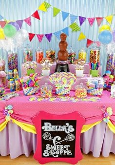 Mesa de dulces candy for candy bar, candy shop, candy bars, cute candy, can Candy Themed Party, Candy Land Theme, Candy Bar Party, Snacks Für Party, Candy Table, Candy Bars For Parties, Party Hats, Anniversaire Candy Land, Rainbow Candy Buffet