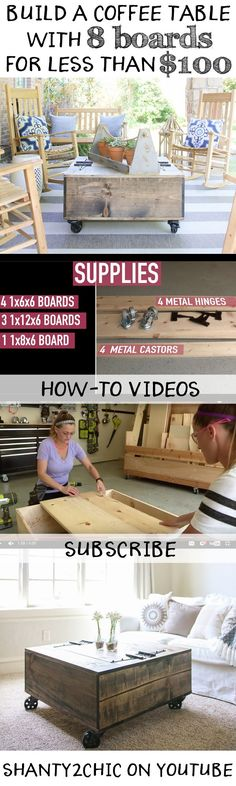 Build a custom storage coffee table with only 8 boards and for less than $100 with this how-to video! This is a great project for beginners and the video will walk you through the steps! Subscribe to our Youtube channel for new how-to videos, weekly!