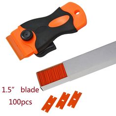 Plastic Razor Scraper and 100pc Double Edged Razor replaceable blade Car Wrapping Window Tint Glue Remove Tool CN051P+CN053-US