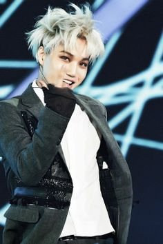 kim jongin! I need to stop pinning but i can't because of obvious reasons! His white hair are so gorgeous!