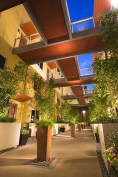 dramatic community corridor within C2 Lofts urban multi-family development by Christopher Homes in Las Vegas