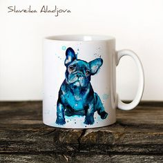 French Bulldog Mug Watercolor Ceramic Mug Unique Gift by SlaviART.  #LGLimitlessDesign  #Contest