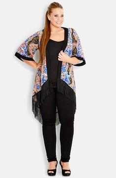 City Chic Dragon Print Fringed Kimono (Plus Size) | Nordstrom