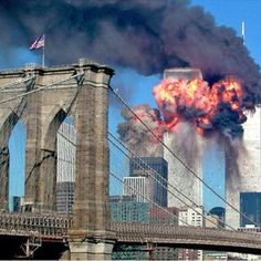 """The South Tower of the World Trade Center explodes in flames after being hit by the hijacked airliner now universally known as """"the second plane,"""" United Airlines Flight 175, September 11, 2001. Ground Zero"""
