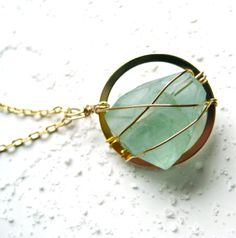 Florite Gemstone Dream Catcher Gold Medium Gemstone by platadesign.etsy.com