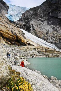 Edge of Briksdal Glacier in Norway