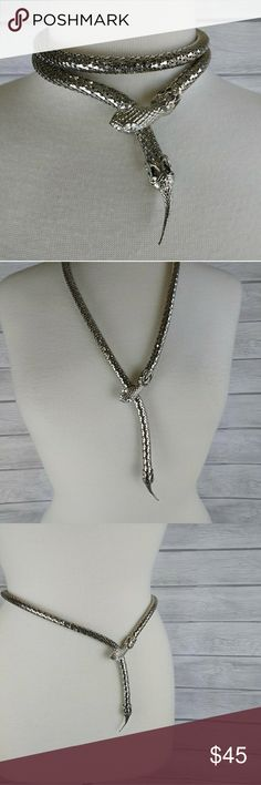 """❤️Silver mesh snake necklace or belt  Silver mesh snake piece can be worn as a necklace or belt. Snake head is silverstone with jeweled eyes. There are no markings on this piece but it's quite nice and striking. Head fastens with two prongs on back that clasp onto tail end. You adjust how loose or tight you want to go. Excellent condition and cool piece. Approx 32"""" long. Fits waist up to 29"""". FIRM Vintage Jewelry"""
