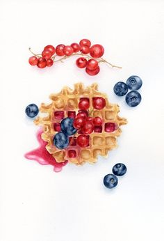Swiss Waffles, Blueberries and Red Currants- ORIGINAL Painting (Desset Illustration, Still Life, Watercolour Food Wall Art)