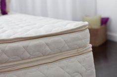The Savvy Rest Harmony organic mattress topper; 3 inches of natural latex encased in certified organic cotton and certified organic wool.