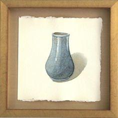 Song Dynasty 960- 1279, big vase, guan kiln / Michael Hampton / watercolor on paper / Art Size: 6 x 6; Frame Size: 9 x 9