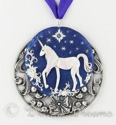 Unicorn Pendant Unicorn Necklace Polymer Clay by DeidreDreams, $135.00