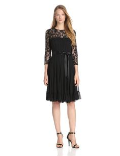 Amazon.com: Adrianna Papell Women's Lace Chiffon Flare with Sash Dress: Clothing