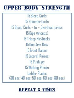 Basic upper body workout plan for runners and beginners. Questions? Either comment or do a YouTube search!