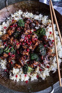 Pomegranate Sesame Chicken with Ginger Rice Pilaf via Half Baked Harvest #recipe
