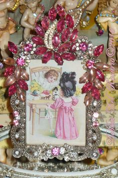 Pretty In Pink Jeweled Frame By Debbie-Pink, Rose, Shabby, Chic, Marie, Antoinette, French, Sparkle, Rhinestones, Teardrops,
