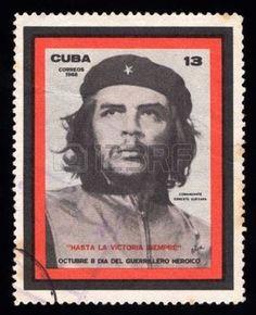 filatelia:  Vintage sello de correos de Cuba con una imagen grabada del líder guerrillero revolucionario marxista Che Guevara