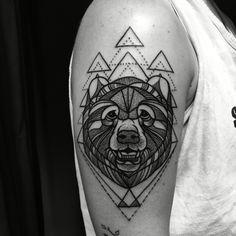 Blackwork Grizzly Bear Tattooed by Noelle LaMonica Divine Machine Tattoo