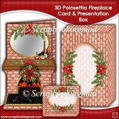 3D Poinsettia Fireplace Card & Presentation Box Tri Fold Cards, Slider Cards, Folded Cards, Poinsettia, Stepper Cards, Wine Bottle Tags, Bead Embroidery Patterns, Shaped Cards, Tent Cards