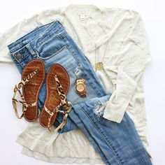 Sweater: J.Crew | Jeans: American Eagle | Sandals: Sam Edelman | Watch: Fossil | Ring: Kohl's | Necklace: eBay