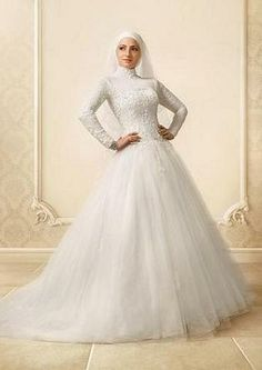 Bride White High Neck Muslim Wedding Gown Tulle Court Train Long Sleeve Lace Muslim We… Hijab – Bride Muslim Wedding Gown, Hijabi Wedding, Tulle Wedding Gown, Muslim Wedding Dresses, Muslim Brides, 2015 Wedding Dresses, Bridal Hijab, Bridal Gowns, Bridal Outfits