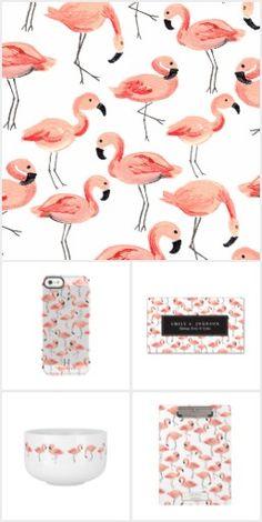 pink Flamingo Print pattern design by origami prints #flamingos