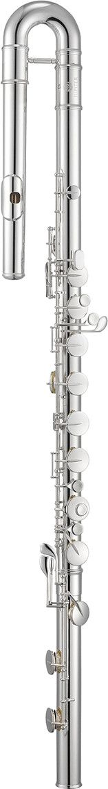 The Jupiter JBF1000 bass flute takes the classic curved headjoint design, and gives it a number of upgraded features including: Silver-Plated Body, Headjoint, and Keys, French keys with pointed arms,