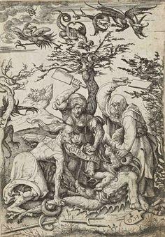 Daniel Hopfer, Three old women beating a devil on the ground, early 16th century #ALCHEMY