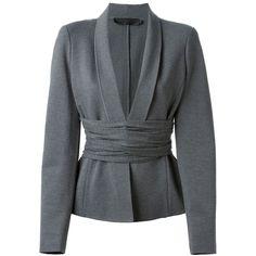 Donna Karan Cross Drape Jersey Blazer (30 970 UAH) ❤ liked on Polyvore featuring outerwear, jackets, blazers, coats, tops, grey, donna karan blazer, jersey knit jacket, cross jackets and gray blazer