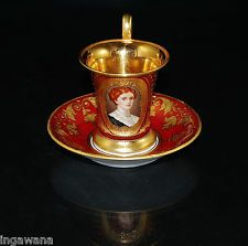ROYAL VIENNA PORTRAIT TEA CUP SAUCER 24KT GOLD WASH GILDED JEWELED NUMBERED