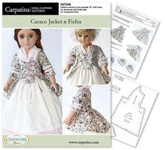 Caraco Jacket and Fichu Doll Clothes Pattern as PDF by CARPATINA