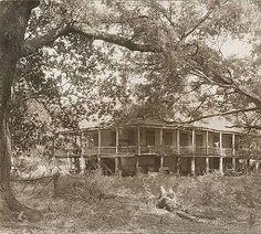 Exterior view of John H. Ransdell's Elmwood Plantation in Alexandria, Rapides Parish, Louisiana. Old Mansions, Mansions Homes, Abandoned Mansions, Abandoned Buildings, Abandoned Places, Southern Plantation Homes, Southern Mansions, Plantation Houses, Abandoned Homes
