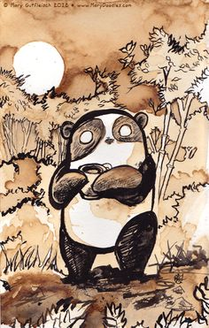 Coffee Panda by ~MaryDoodles