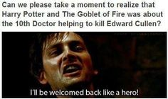 The 10th Doctor killing Edward Cullen... I'll never watch Goblet of Fire the same way again.