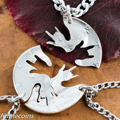 3 Best friends necklaces Three piece I love you hands by NameCoins, $49.99