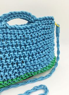 Sky Blue with Kelley Green Trim Knitted Paracord by agirlnamedsoo