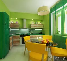 I want this colorful kitchen!