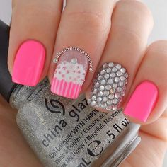 Neon Pink Cupcake Nails With Rhinestones