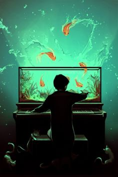 "this is not the same, but it reminds me of the neutral milk hotel song...""playing pianos filled with flames..."" ""Le Pianoquarium"" by Rolando Cyril"